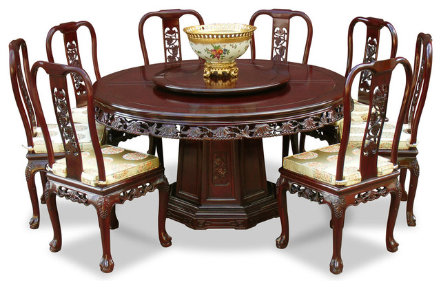 60 Rosewood Queen Ann Grape Motif Round Dining Table With 8 Chairs Asian Dining Sets By China Furniture And Arts