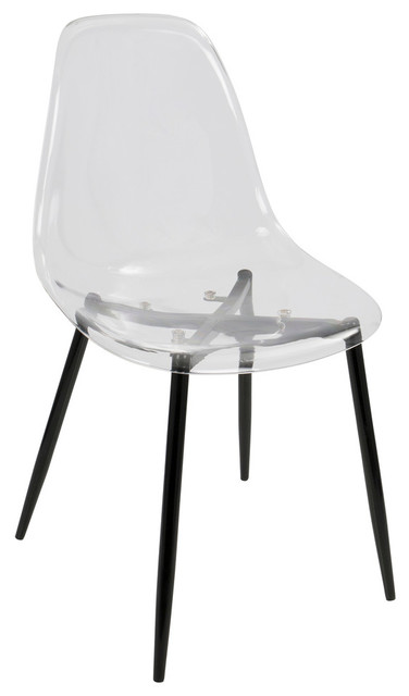 Phenomenal Lumisource Clara Dining Chairs Set Of 2 Black And Clear Ncnpc Chair Design For Home Ncnpcorg
