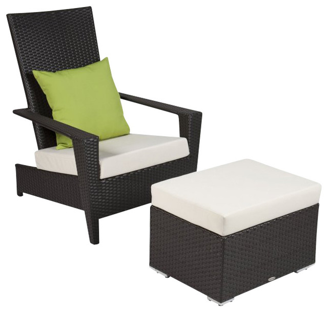 Martano Modern Outdoor All Weather Wicker 2-Piece Stackable Chair With  Ottoman