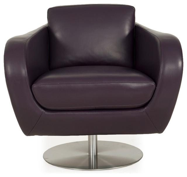 Sulu Top Grain Leather Swivel Chair Joker Purple Modern
