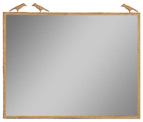 "Joelle Mirror-Polished Brass Finish, 38""x29"", Three Birds."