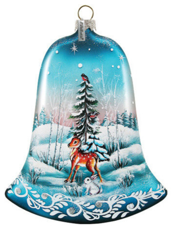 Hand Painted Winter Bunny Glass Bell Scenic Ornament ...