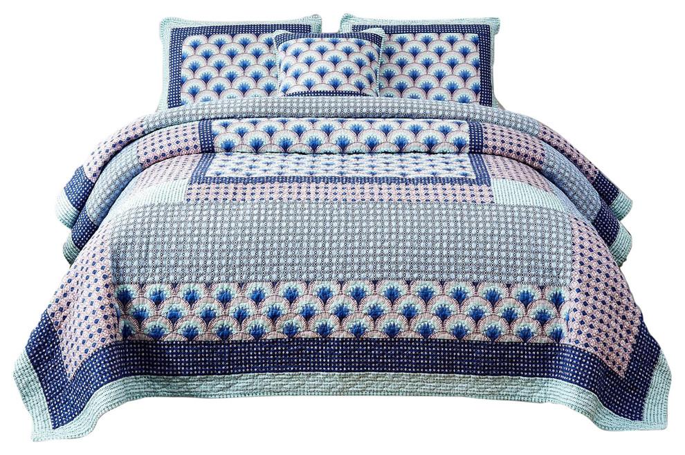 DaDa 3 Piece Solid Modern Light Blue Gentle Wave Bedspread Coverlet Set Queen Thin and Lightweight