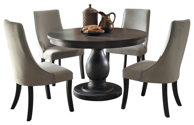 5 Piece Dakins Dining Set Round Table And 4 Chair Rustic Brown Traditional Dining Sets By Amoc