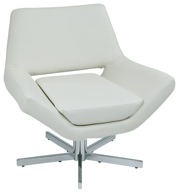 Terrific Yield Modern Lounge Chair With Wide Seat And 5 Star Base White Faux Leather Cjindustries Chair Design For Home Cjindustriesco