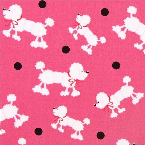 hot pink dot poodle dog fabric Girly Girl