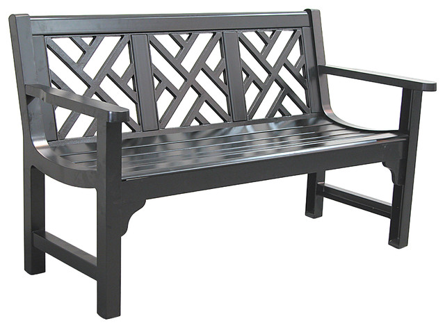 Chippendale Bench, Semi Matte Black Contemporary Outdoor Benches