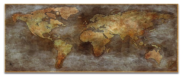 World Map Art 1800s Trade Routes Map Old World Wall Decor On Metal