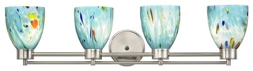 Modern Bathroom Light, Satin Nickel, Ocean Turquoise Blue Glass.