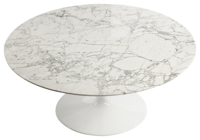 tulip marble coffee table, white - midcentury - coffee tables -