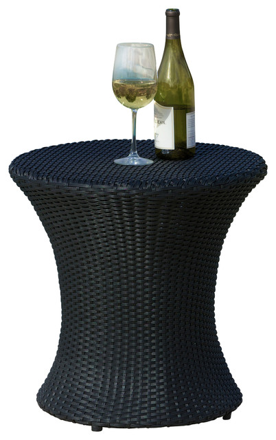 Beautiful Lorenzo Outdoor Wicker Accent Table, Black Contemporary Outdoor Side Tables