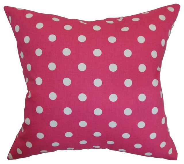 Fuschia Modern Pillows : Nancy Polka Dots Pillow Fuschia White - Contemporary - Decorative Pillows - by The Pillow Collection