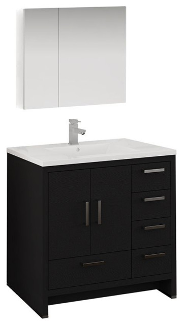 "Imperia 36"" Dark Gray Oak Vanity Set, Right Offset, Faucet-Fft1053ch"