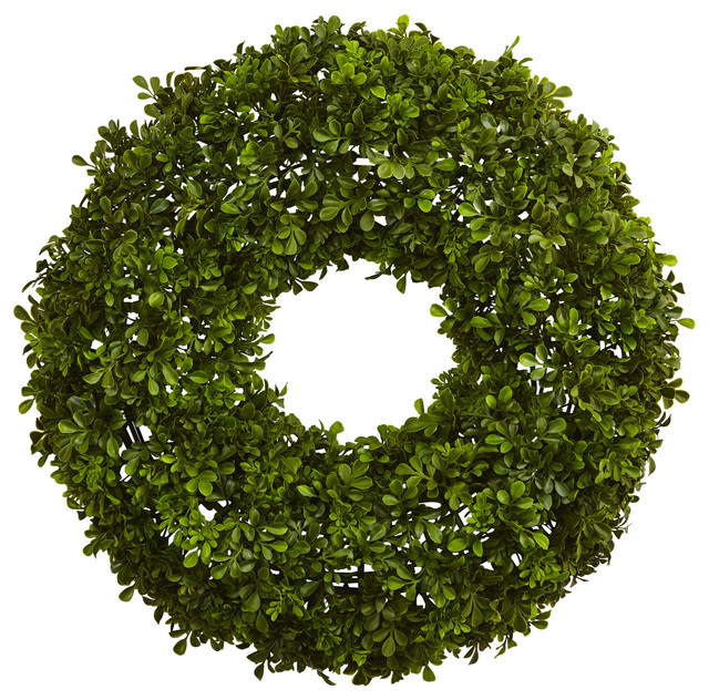 22 quot boxwood wreath traditional wreaths and garlands by nearly
