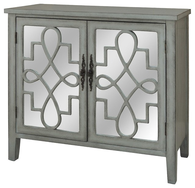 isabelle 2door gray and mirrored cabinet