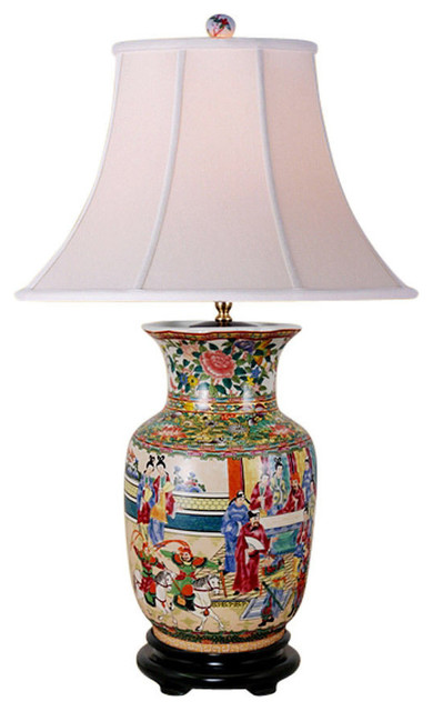 Oriental Chinese Porcelain Rose Canton Vase Table Lamp 29