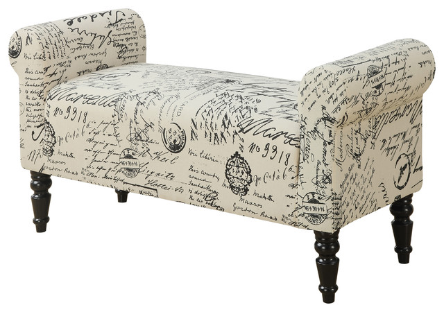 "Bench, 44"" Traditional Style Vintage French Fabric."