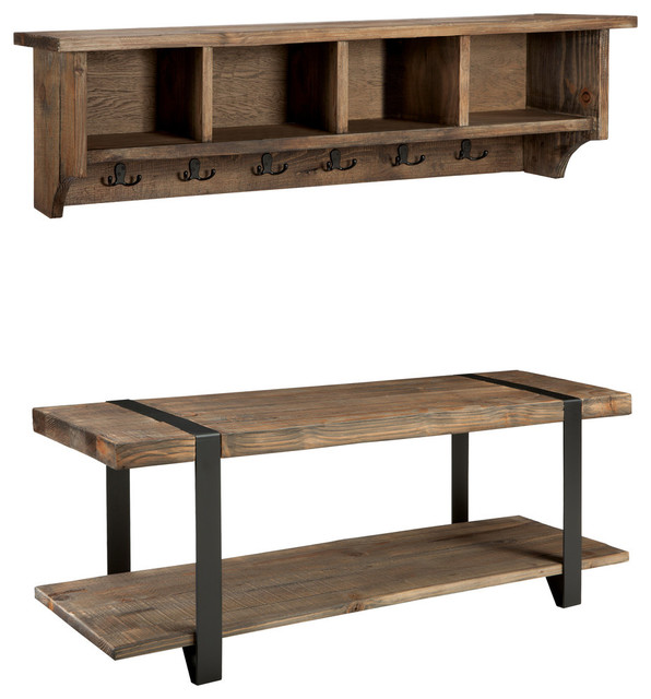 Modesto 48 Metal And Reclaimed Wood Storage Coat Hook With Bench Rustic Accent Benches By Bolton Furniture Inc