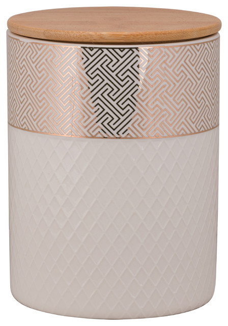 Embossed Geometric Cannister, Large.