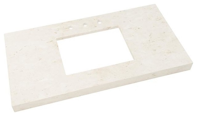 "Ronbow 43""x22"" Wide Appeal Marble Vanity Top With 8"" Spread, Cream Beige."