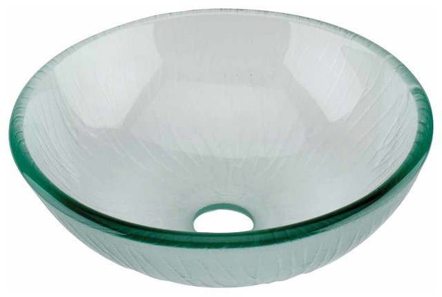 12890 Round Vessel Sink Mini Branch Textured Frosted Clear Glass