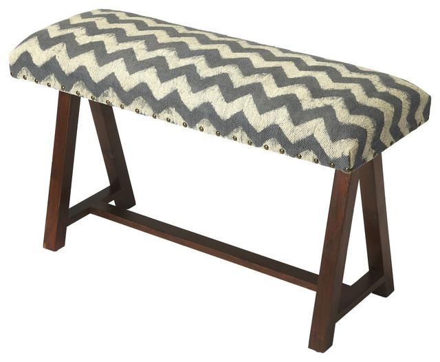 Butler Keating Zig Zag Upholstered Bench.