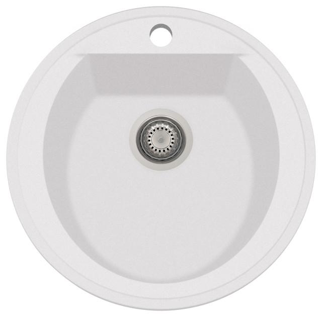Alfi Brand Ab2020di W White 20 Drop In Round Granite Kitchen Prep Sink