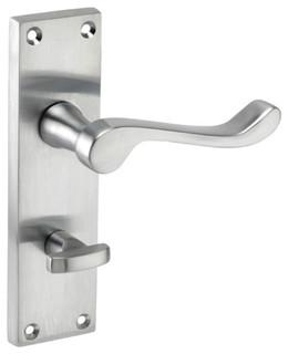 Bathroom Lock Lever Door Handles forbidden_on Backplate