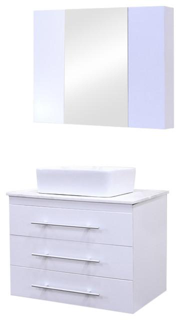 Portland 30 Single Sink, Wall Mount Vanity Set, White.
