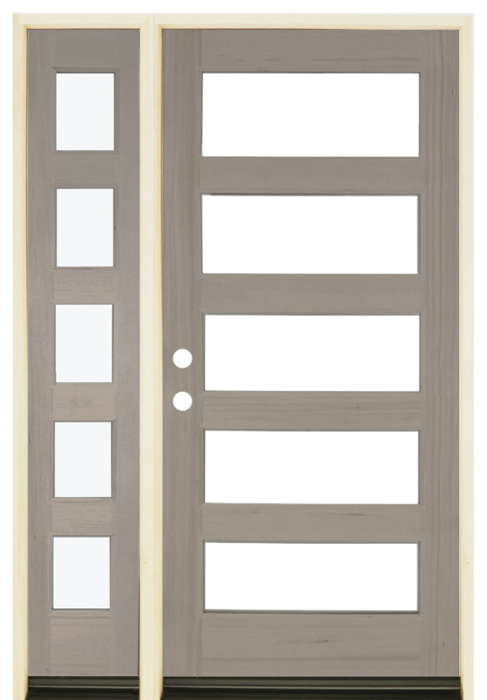 Modern Hemlock Front Door With 5 Lite Window Left Sidelite Transitional Front Doors By Welcome Home Doors