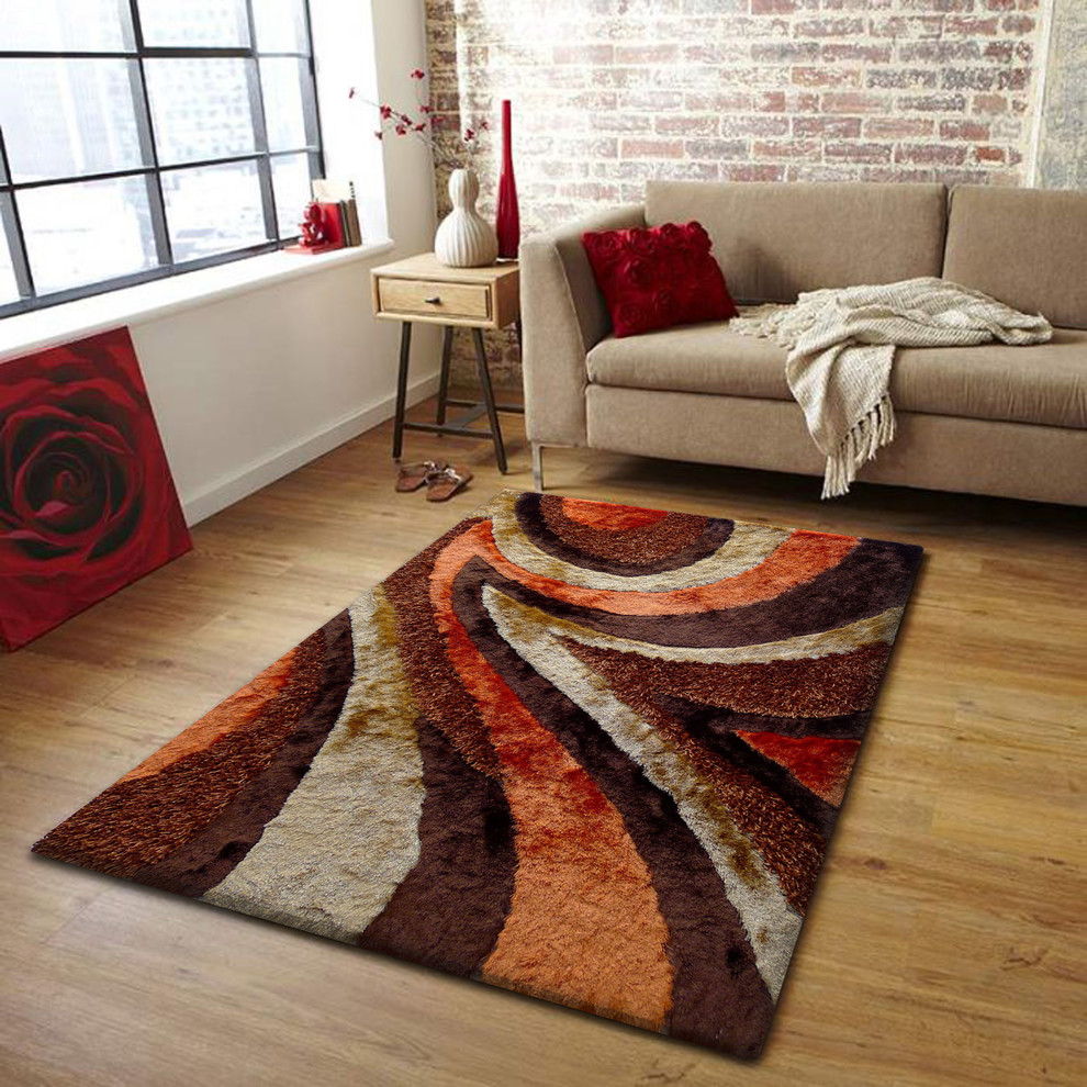 4\'x6\' Hand-Tufted Brown and Orange Living Room Shaggy Area Rug
