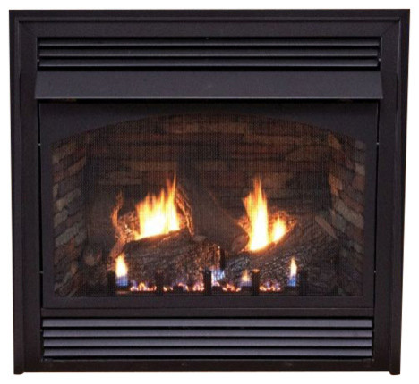 "Premium 36"" Vent-Free Thermostat Control Liquid Propane  Fireplace With Blower."