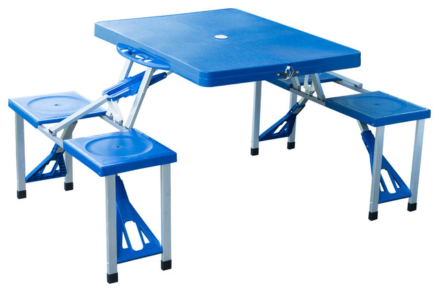 Outsunny Outdoor Portable Suitcase Folding Picnic Table With 4 Seats, Blue.