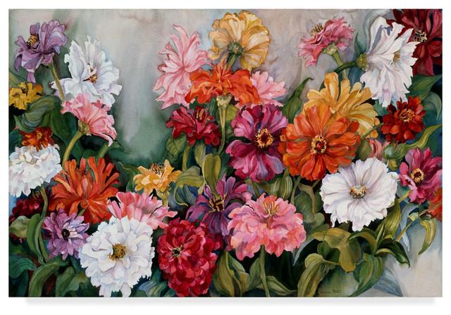 Joanne Porter Zinnias Canvas Art Contemporary Prints
