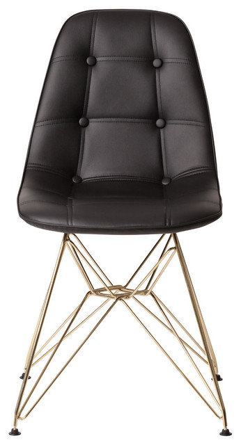 Astounding Midcentury Modern Tufted Side Chair With Gold Finished Legs Black Dailytribune Chair Design For Home Dailytribuneorg