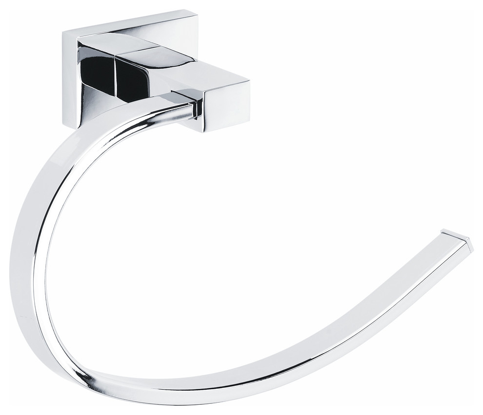 BATHSIR Brass Short Towel Ring Contemporary Bathroom Hardware Towel Holder Lavatory Wall Mounted Round Edge Space Save