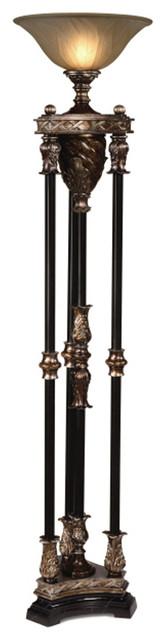 Crestview Collection Cvanp812 Silvered Bronze 4 Column Torchiere.