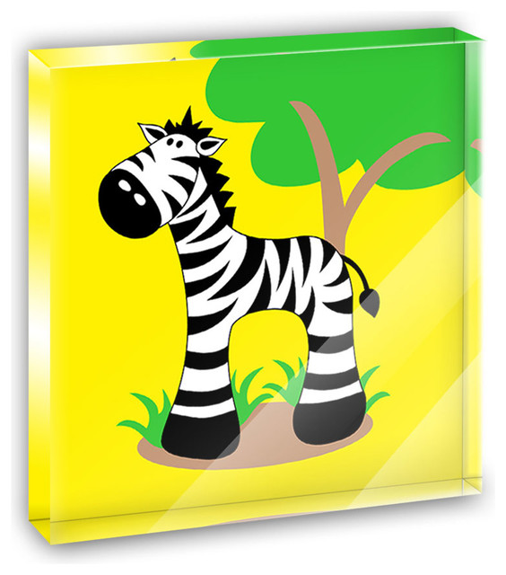 Zebra And Tree Cute Mini Desk Plaque and Paperweight contemporary-decorative-accents