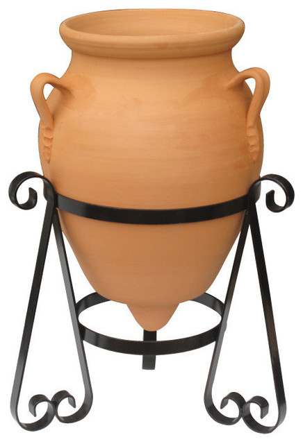 Ceramic Decorative Urn With Stand , Baldaia Terracotta Planter, 55x80 cm