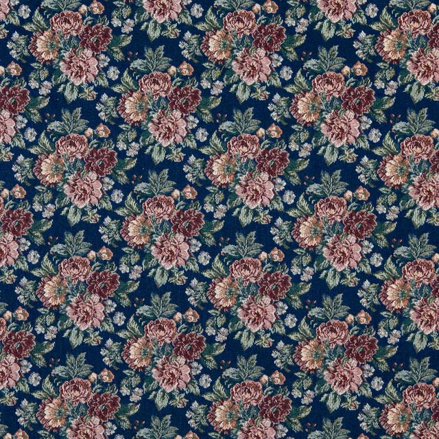 Navy Red Green And Orange Fl Tapestry Upholstery Fabric By The Yard Traditional Palazzo Fabrics