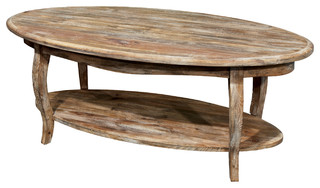 Rustic reclaimed oval coffee table driftwood farmhouse for Oval farmhouse coffee table