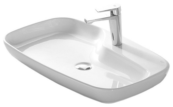 Rectangular White Ceramic Vessel Sink, One Hole