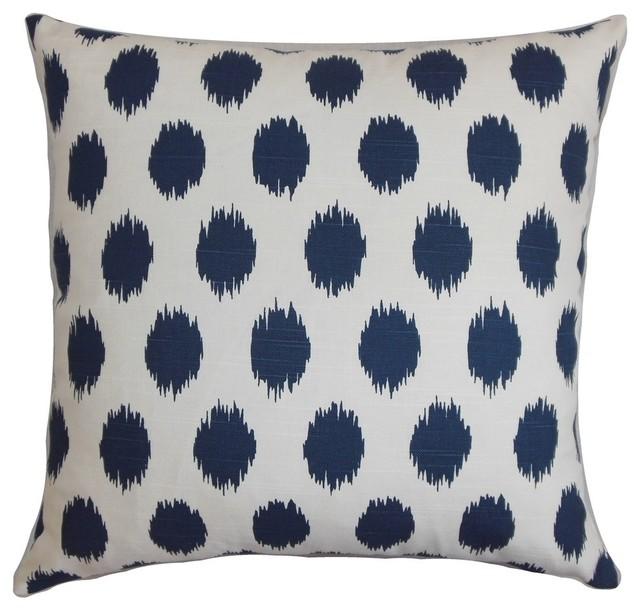 "Faustine Ikat Pillow Navy Blue 18""x18""."