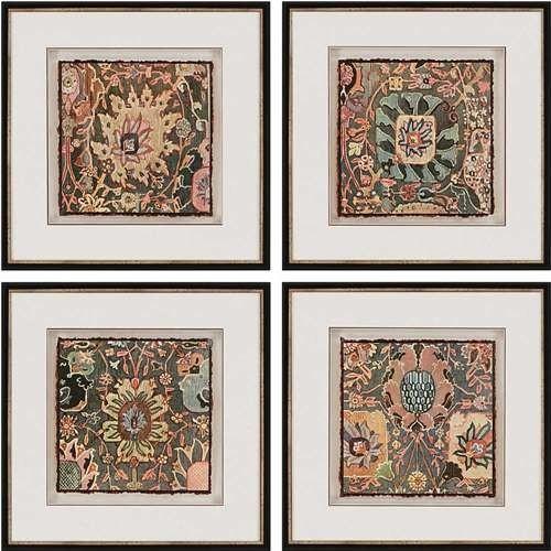 """Persian Carpet Artwork, Set Of 4, 22""""x22"""". -1"""