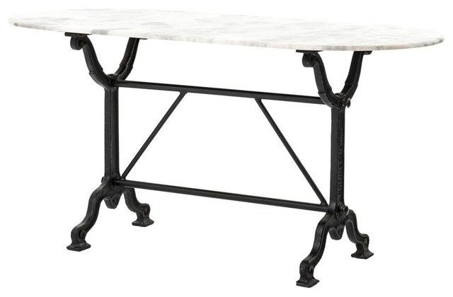 French Industrial White Marble Top Oval Writing Desk, Black Leg.