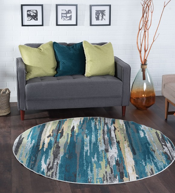 Caruso Contemporary Stripe Area Rug Contemporary Area Rugs By Tayse Rugs