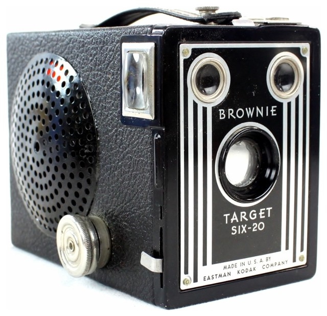 speakers in target. steampunk wireless bluetooth speaker-kodak brownie target six-20 camera, silver contemporary- speakers in e