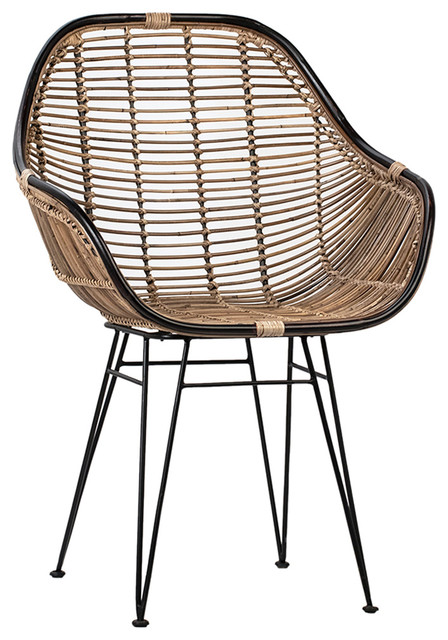 Modern Black Rattan Dining Chair Tropical Dining Chairs By Design Mix Furniture