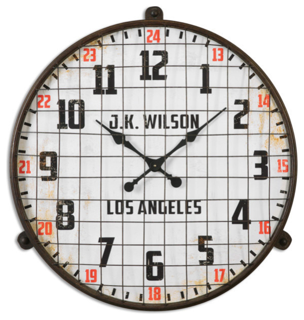 Retro Wall Clock Metal Cage Vintage Style