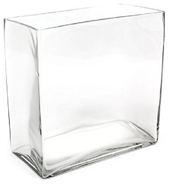 Cys Glass Rectangle Vase 8x8x4 Contemporary Vases By Cys